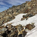 Blocks of quartz with sulphides and black tourmaline breccia littered on the scree slope.